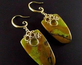 25 OFF Yellow Opal Sheild Cut Gold Swirl Earrings