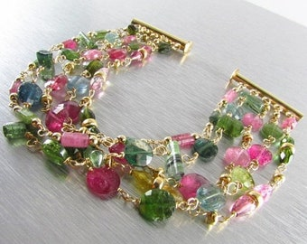 15 Off Watermelon Tourmaline Gold Filled Bracelet, Multi Strand Tourmaline Bracelet
