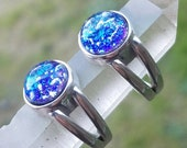Cremation Jewelry Ashes InFused Glass Ring 10mm Size 7  Sterling Silver Pet Memorial