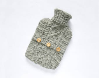 Hot water bottle cover / sweater - 100 per cent wool - Light Pebble Grey. Hand Knit Bottle Cosy / Cozy.