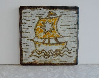 ship italian tile, made in italy by semigres, nautical boat theme, midcentury tile, trivet, hotplate, decorative ceramic tile, clay tile