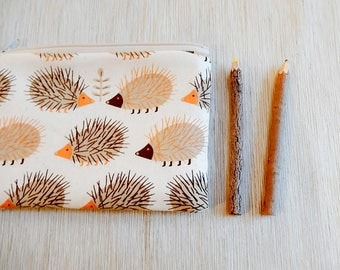 Pencil Case/ Hedgehog Gift for Her/ Christmas Gift/ Gift for Mom/ BFF Gift/ Girlfriend Gift/ Sister Gift/ Make Up Bag/ Gift for Wife/ Pouch