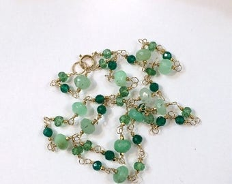 FLASH SALE Emerald Green Necklace Wire Wrap Gemstone Rosary Necklace 14kt Gold Filled Choker Chrysoprase Emerald Green Onyx May Birthstone G