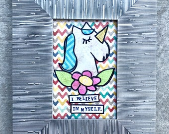 I believe in myself unicorn framed mixed media collage art by Things With Wings