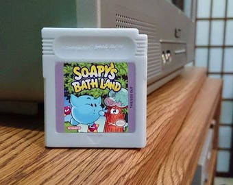 SOAP Gameboy cartridge parody with case, Kirby's Dreamland, aka Soapy's Bathland, Retro Video Game Geek Gift