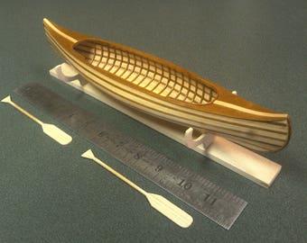 Miniature model canoe