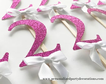 2 Pink Glitter Cupcake Toppers, Girl 1st birthday party, 2nd birthday, 3rd birthday, glitter party decorations – Quick & Free Shipping