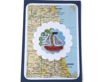 Card Map Atlas,Paper Quilling Boat card, Free Shipping,Paper Quilled Vintage Red Boat,Male Birthday,Fisherman USA,Chicago,Illinois,Wisconsin