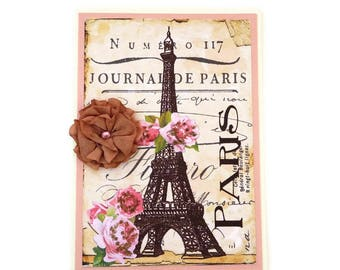 Paris Card, Eiffel Tower, French Card, Birthday,Vintage Shabby, French Tea Party, Bridal Shower, Dyed Stained Flower, Pink Roses, Bon Voyage