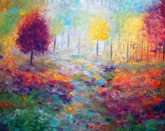 SPRING TO FALL Seasons Trees Landscape - Original Painting made on Canvas ready to hang- impasto technique- textured painting