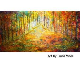 Large Canvas Painting 60x30 Original Wall Art SUNSET Trees Landscape HUGE Ready to Ship Art by Luiza Vizoli