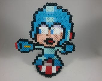 Mega Man - Perler Bead Sprite Pixel Art Figure Stand or Lanyard Necklace