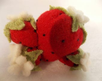 Felted Strawberry Pin Cushion~Felted Wool Pin Cushion~Red Felted Pin Cushion~4 Strawberry Pin Cushion