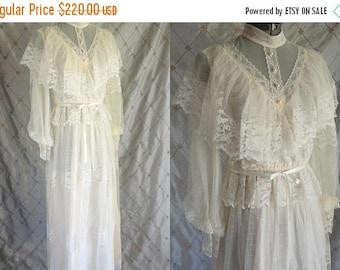 "ON SALE Wedding Dress //  Vintage 1970's Ivory Lace Maxi Dress Size M up to 28"" waist victorian edwardian boho prairie romantic wedding brid"
