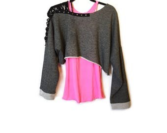 Lace Up Off Shoulder Slouchy Pull Over Tunic