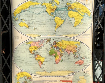 Pull Down School Map of The World Vintage 1940 Classroom Physical/Political