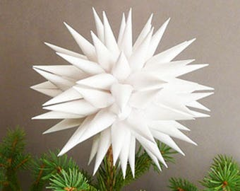 Modern White Christmas Tree Topper Polish Star Paper Tree Topper Christmas Tree Star Contemporary Tree Topper - Linen White