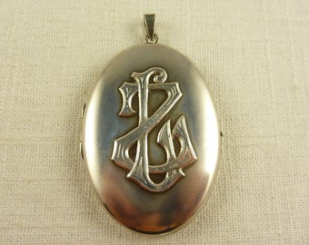 "Antique Victorian Large Sterling Locket with ""LZ"" Initials"