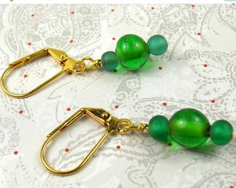 SALE, 50%, Green on Green glass beads dangle earrings