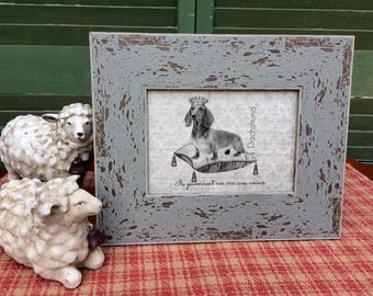 Dachshund in French Crown, French Country Decor, Farmhouse Decor, Linen Print, Distressed Shabby Chic Frame, Printed on Linen