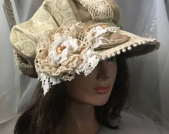 Ooak newsboy cap white,cream summer cap cotton linen tatiana123