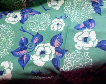 Vintage Feedsack Fabric Aqua Backround Blue & Pink Floral Flowers Feed Sack 33 x 44 #mm78