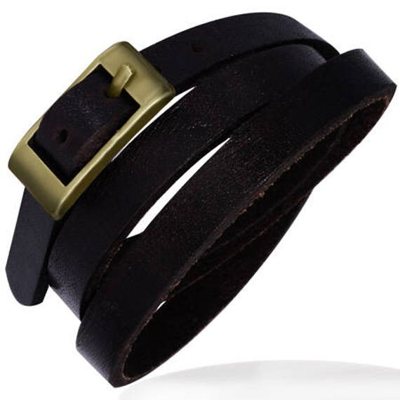 "4 Leather Dark Brown Wrap Buckle Cuffs - 1/4"" Wide Wrist Band 24"" long - QTY 4"