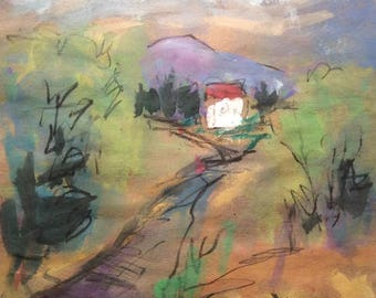 Watercolor Landscape Painting, country road, white farm house