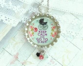 Sleep Necklace Baby Carriage Keep Calm Necklace Sleep Gift Bottle Cap Necklace Sleep Jewelry