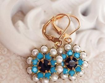 SALE 20% Off Blue Flower Earrings - Pearl - Spring Jewelry - FIORE Cerulean