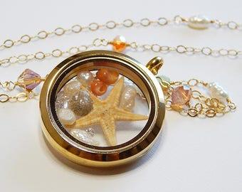 Locket Pendant, 14kt gold filled chain, freshwater pearl, rhinestones, Swarovski, seashell, starfish, made in hawaii, wedding, keepsake