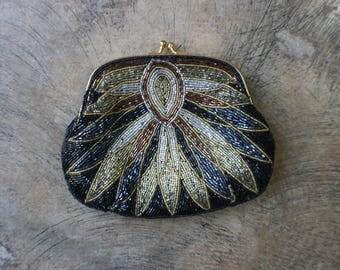Beaded PURSE / Vintage Sparkling Bead Clutch / Evening Bag
