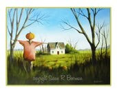 Blank Note Card Autumn at the Old Homestead, Pumpkinhead Scarecrow and Pumpkins in Front of an Old Farmhouse