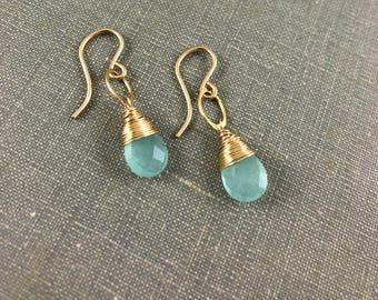 Aqua Chalcedony Teardrop Earrings in Gold Fill