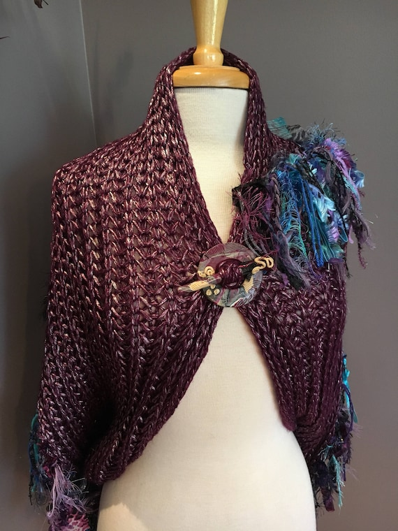 Knit Grey wide infinity scarf, Fringed 'Showstopper', Glitzy Ribbon Fringed Knit Round Loop Infinity, Poncho, plum teal scarf, knit fringed