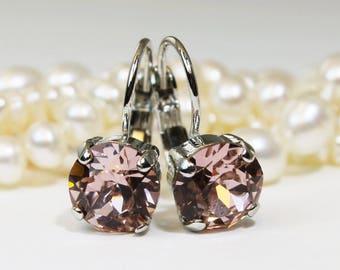 Blush Earrings Blush Swarovski Crystal Earrings Antique Pink Drop Earrings Blush Bridesmaids Earrings Blush Wedding,Silver,Vintage Rose,SE2