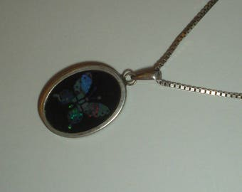 Silver pendant butterfly opal and black onyx inlay pendant necklace