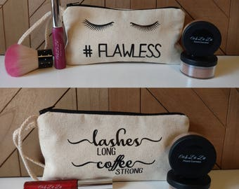 Lashes Long Coffee Strong // #Flawless // Makeup Bag // Canvas Zipper Pouch // Pencil Pouch // Cosmetic Bag / Travel Bag / Bags with Sayings