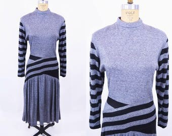 "1980s stripe dress | charcoal black chevron long sleeve dress | vintage 80s dress | W 28"""