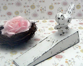 Bird Doorstop Cast Iron Shabby Elegance White White Distressed Nature Fowl Wedged Door Stop Prop Gift Idea