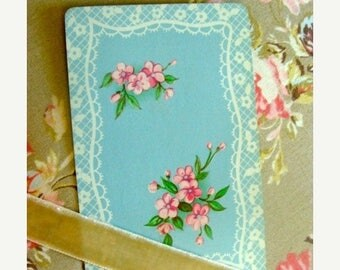 ON SALE Antique Pink Roses and Silhouette Lace Playing Cards Lot