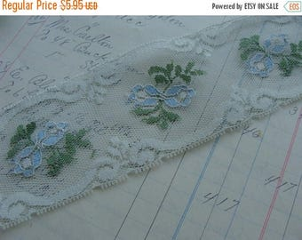 ONSALE 2 Yards of Beautiful Baby Blue Wedding Vintage Netted Lace