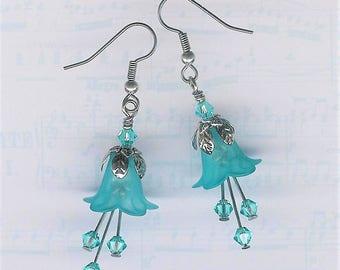Turquoise Lucite Flower Earrings, Crystal Swarvoski Earrings, Lily Earrings, Art Nouveau, Antique Silver, Turquoise Earrings, Garden, Lily