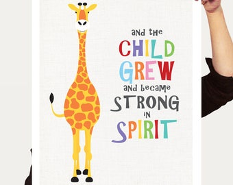 giraffe art and the child grew print with bible quote, nursery art, strong in spirit, animal illustration gender neutral baby, inspirational