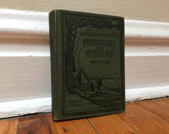 Physiology and Hygiene Book Vintage Antique Distressed 1920s Health Textbook Schoolbook Green