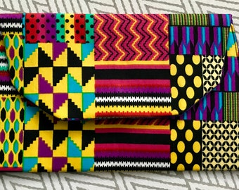 African Print Clutch Bag, Patchwork Kente Print Purse, Holiday Gifts, Kente Print Purse, Gifts For Her