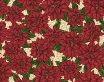 SALE White Cream Red Poinsettia Fabric - RJR - Christmas Elegance - 1920