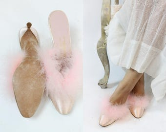 1960s Marabou Shoes Size 7 /  70s I Magnin Feather Mules  / Marilyn Monroe Slippers