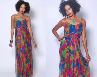 Vintage 70s CHIFFON Gown RAINBOW Maxi Dress Empire Waist Draped Dress