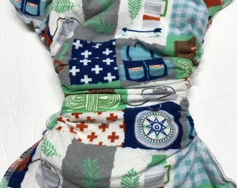 MamaBear One Size Fitted Cloth Cotton Flannel Diaper - Hiking Around